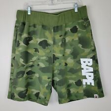 A Bathing Ape 2XL Green Camo Sweat Shorts Ties On Inside Of Waistband