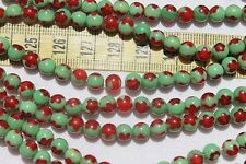 6mm Round Holiday Lampwork Glass Beads Green & Trans Red Loose 50pcs