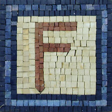 Handmade Blue F Letter Art Stone Marble Mosaic IN269