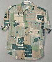 Uomo mens SILK shirt size M short sleeve green orange beige