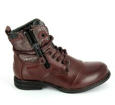 Bunker Zip - LU37  Womens UK 6 EU 40 Maroon Red Zip & Lace Up Ankle Boots