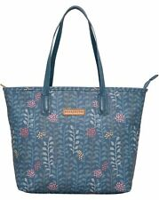 Brakeburn Ladies Trailing Leaf Design Teal Colour Tote Style Hand Bag Zip Closur