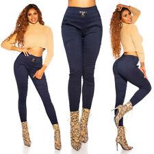 SEXY Skinny HIGHWAIST Hose mit Deko Schnalle High Waist  Marine Blau Größe S / M