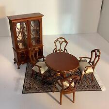 Dollhouse Miniatures Walnut Bespaq China Cabinet Dining Room Furniture Table