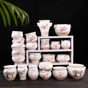 Snow Glazed Hand-painted Succulent Plant Pots Ceramic Planter Garden Decor