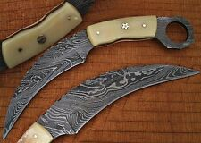 Custom Made Damascus Karambit Knife Bone Handle Beautiful Mosaic Pin  (DM2258)