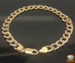 REAL 10k Gold Cuban Link Bracelet Diamond Cuts 9Inch Men/Women 100% Gold, Unique