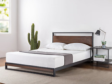 Wood Bed Frame Metal Full Size Headboard Modern Platform Support Mattress Rails