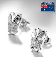 White Gold Filled Silver Lovely Cubic Zirconia Crystal Owl Stud Earrings Gift