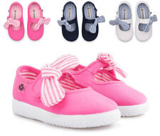 Toddler Girl Victoria Mary Jane Shoes with Bow Organic Cotton Plimsolls NEW