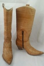 Bianca Buccheri Cowboy Cowgirl Tan Western Leather Boots Made in Italy Size 41