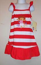 Dora the Explorer by Nickelodeon Ruffled Hemline Striped Sun-Dress 5 NWT