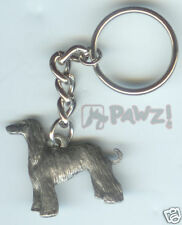 Afghan Hound Dog Fine Pewter Keychain Key Chain Ring