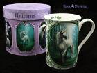 "Anne Stokes Bone China Mug Cup: ""Forest Unicorn"" White Unicorn in Woods"