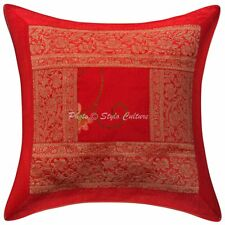 Patchwork Brocade Polydupion Cushion Cover Red 16x16 Floral Pillowcase