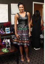 Yoana Baraschi Blue Amazon Hi Low Leather Printed Dress 4 NWOT Black $625