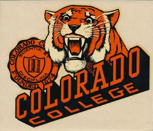 Colorado College RARE ORIGINAL 1940's Campus Decal sticker NCAA Tigers VTG Seal