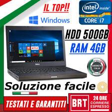 """PC NOTEBOOK PORTATILE DELL PRECISION M4800 15.6"""" i7 4gen RAM 4GB HDD 500GB +WIN"""