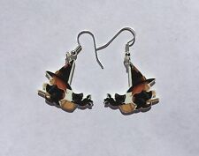 Witch Black Cat Earrings Broom Charms