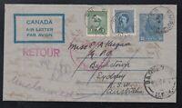 Canada 1948 Nova Scotia to SYDNEY AUSTRALIA Return to Sender DLO Cover