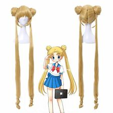 Sailor Moon Tsukino Usagi Serenity Golden Long 2 Ponytails Cosplay Wig USA Ship