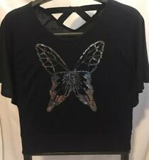 One Step Up Girls Black T-Shirt Top Embellished Silver Sequin Butterfly L 14/16