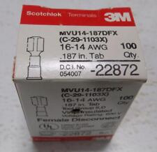 3M SCOTCHLOK MVU14-187DFX 16-14 AWG FEMALE DISCONNECT 22872 BOX OF 100