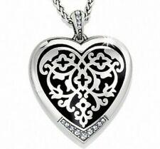 Silver Crystal ReversiblePendant Necklace Msp$78 Nwt Brighton Sophia Heart Black