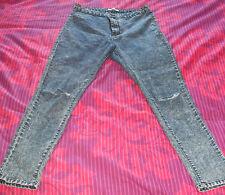 PLACE DU JOUR-Femme Acide Délavé Bleu Jeans Skinny Déchiré - 40-utilisé Bon