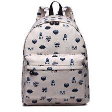 Ladies Girls Cute Print School A4 Backpack Shoulder Laptop Bag Travel Rucksack Beige