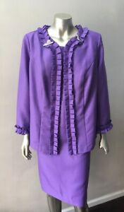 Ruffle 2 Piece Lilac Formal Wedding Party Purple Dress Plus Size Suit 14W