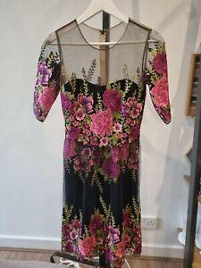 Marchesa Notte Embroidered Floral Black Dress US Sz0