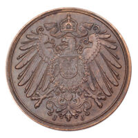 1914 J Germany 1 Pfennig (About Uncirculated, AU Condition) KM# 10
