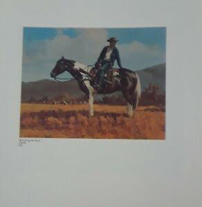"Olef Wieghorst Print, ""WATCHING THE HERD"", .Cowboy, Western Art,  8.5x10"