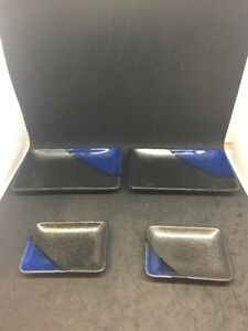 VTG Decorative Small Rectangle Plate Set Gray Black Blue Made In Japan
