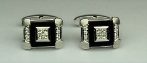 5/8 cttw Men's Diamond designer CUFFLINK set GH VS2SI1 14kt w.gold OUTSTANDING
