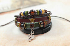 Chic Jewelry Fashion Infinity Leather Charm Bracelet Silver lots Beads Style
