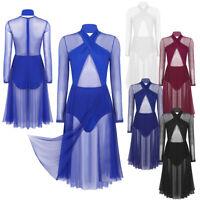 Women's Long Sleeves Leotard Dress Tango Waltz Contemporary Dance Dress Lyrical