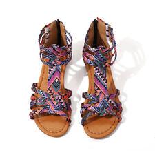 Womens Fashion Boho Flat Sandals Summer Beach Embellished Ladies Shoes Sandle