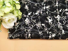 """Floral Tulle Wedding Lace Fabric 55"""" Wide Embroidery Bridal Lace Fabric 1 Meter"""