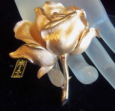 TRIFARI VINTAGE BRUSH GOLDPLATED ROSE BROOCH  PHIILPPE FIGURAL  original ta