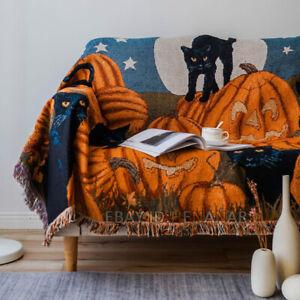 Halloween Pumpkin With Black Cats Cotton Blanket Tapestry Carpet Sofa Mat Home
