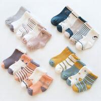 5 Pairs Multi Color NewBorn Baby Kids Infant Toddler Crew Soft Socks 0-8 Years