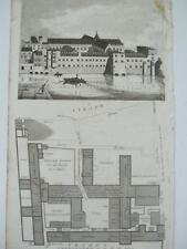 PLAN & ELEVATION SAVOY VIEW FROM 1736 By G Vertue THAMES HOSPITAL NOW BARRACKS