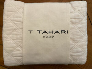 NEW Tahari white cotton linen standard quilted shams set of 2 NIP