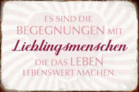Begegnungen mit Lieblingsmenschen Blechschild Schild gewölbt Tin Sign 20 x 30 cm