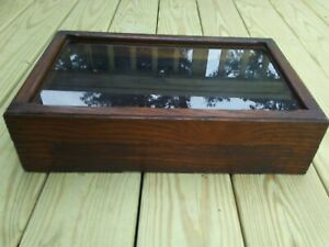 """Antique Wood Display Case with Hinged Cover 11"""" x 18"""""""