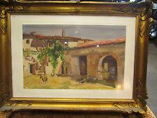 ancien tableau aquarelle signé m a francais cour de ferme en bresse bressane
