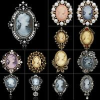 Retro Cameo Crystal Brooch Pin Corsage Banquet Womens Charm Jewellery Gift Hot