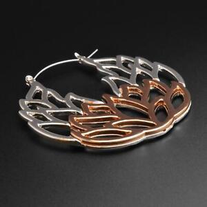 Plug Hoops Earrings Lotus Flower Silver & Rose Gold Ear Hangers Pair SIBJ